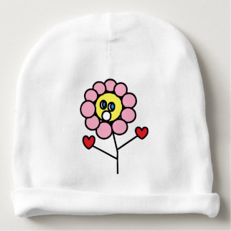 Adorable Pink Flower Child Drawing Baby Beanie