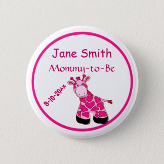 Adorable Pink Giraffe Mommy To Be Baby Shower 6 Cm Round Badge
