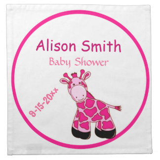 Adorable Pink Giraffe Mommy To Be Baby Shower Napkin