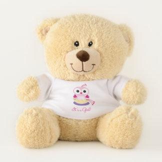 Adorable Pink Girl Bird Gender Reveal Teddy Bear