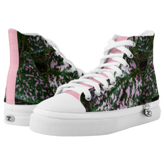 ADORABLE PINK GREEN PLANT HIGH TOPS