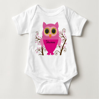 Adorable Pink Owl & Cherry Blossom Baby Shirt