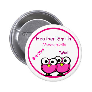 Adorable Pink Owl Mommy To Be Baby Shower Twins 6 Cm Round Badge