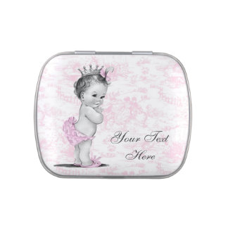 Adorable Pink Toile Princess Baby Shower Candy Candy Tins