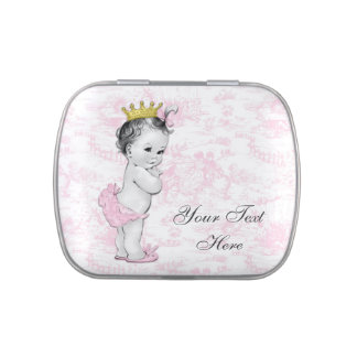 Adorable Pink Toile Princess Baby Shower Candy Jelly Belly Candy Tins