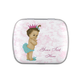 Adorable Pink Toile Princess Baby Shower Candy Jelly Belly Tins