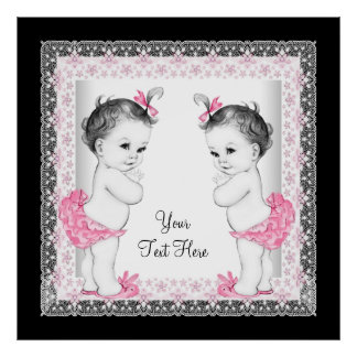 Adorable Pink Twin Baby Girl Baby Shower Poster