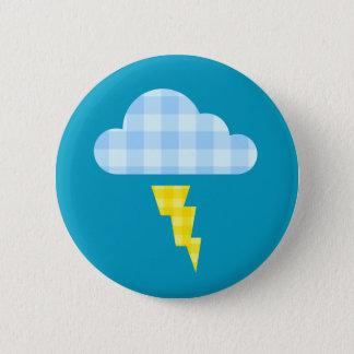 Adorable Plaid Storm Cloud and Lightning Bolt 6 Cm Round Badge