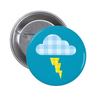 Adorable Plaid Storm Cloud and Lightning Bolt 6 Cm Round Badge