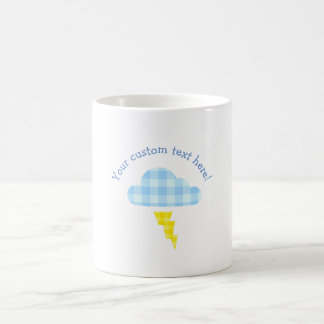 Adorable Plaid Storm Cloud and Lightning Bolt Coffee Mug