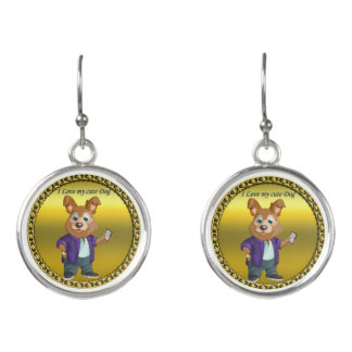 Adorable playful Cartoon dog student in a suit #1 Earrings