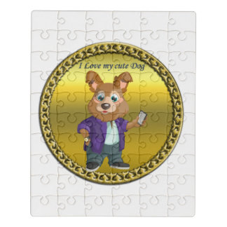 Adorable playful Cartoon dog student in a suit #1 Jigsaw Puzzle