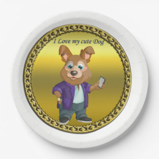 Adorable playful Cartoon dog student in a suit #1 Paper Plate