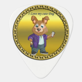 Adorable playful Cartoon dog student in a suit #1 Plectrum