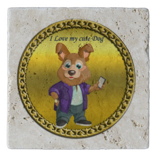 Adorable playful Cartoon dog student in a suit #1 Trivet