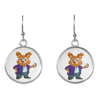Adorable playful Cartoon dog student in a suit #1w Earrings
