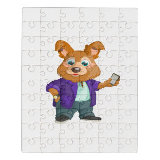 Adorable playful Cartoon dog student in a suit #1w Jigsaw Puzzle