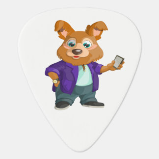 Adorable playful Cartoon dog student in a suit #1w Plectrum
