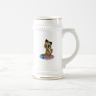 Adorable playful fluffy cute kitten with cat eyes beer stein