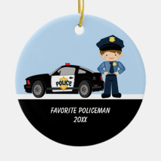 Adorable Policeman with Police Car Ornament