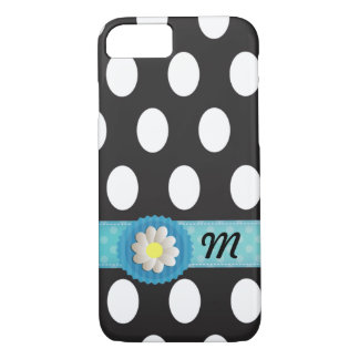 Adorable polka dots turquoise band daisy monogram iPhone 7 case