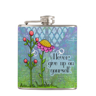 Adorable Positive Thought Doodle Flower Flask