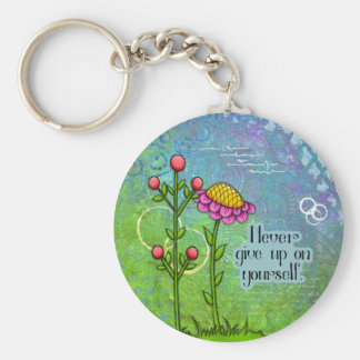 Adorable Positive Thought Doodle Flower Keychain