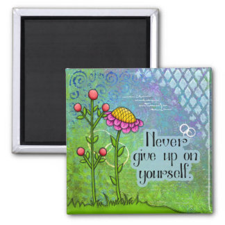 Adorable Positive Thought Doodle Flower Magnet
