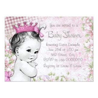 "Adorable Princess Pink Baby Shower 5.5"" X 7.5"" Invitation Card"