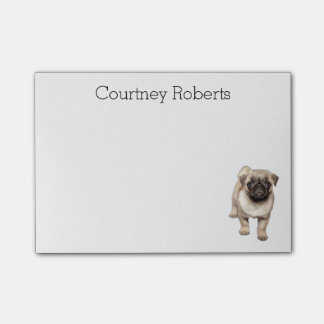 Adorable Pug Puppy with Your Name Custom Post-it® Notes