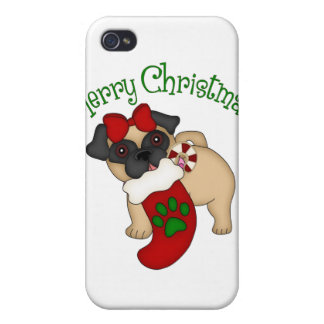 Adorable Pug Themed Holiday Christmas Tees, Gifts iPhone 4 Covers