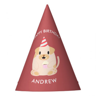 Adorable Puppy Dog Kids Birthday Party Hat