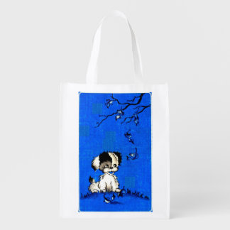 adorable puppy in autumn print reusable grocery bag