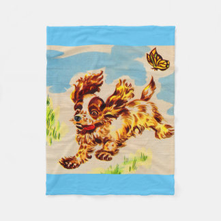 adorable puppy on the run fleece blanket