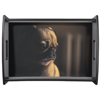 Adorable purebred pug serving tray
