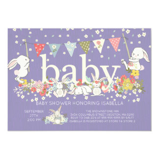 Adorable Purple Bunny Girls Baby shower Invitation