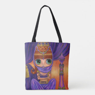 Adorable Purple Genie Girl Big Green Eyes Tote Bag