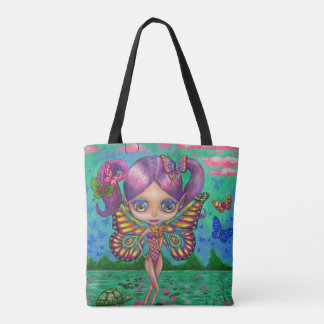 Adorable Purple Hair Fairy Girl & Water Lilies Tote Bag