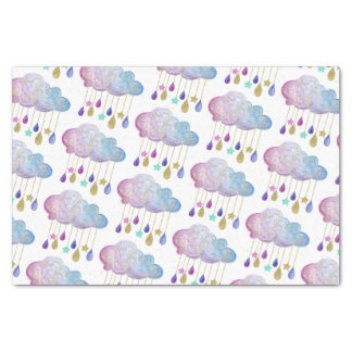 Adorable Rainbow Clouds & Gold Baby Girl Shower Tissue Paper