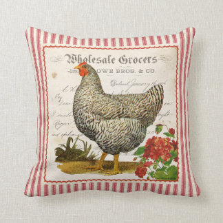Adorable red black & white vintage chicken pillow