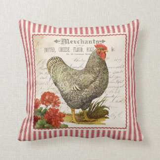 Adorable red black & white vintage rooster pillow