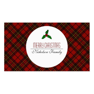 Adorable Red Christmas tartan Holly twig Gift tag Double-Sided Standard Business Cards (Pack Of 100)