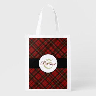 Adorable Red Christmas tartan Monogram Reusable Grocery Bag