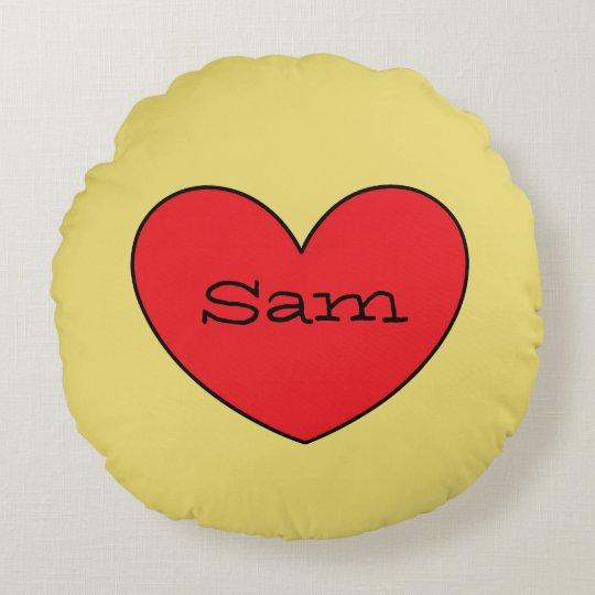 Adorable Red Heart Personalised Round Pillow