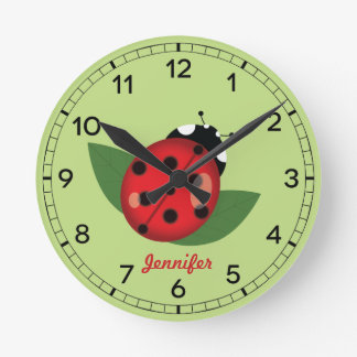 Adorable Red Ladybug Insect With Custom Name Round Clock