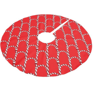 Adorable Red & White Candy Cane Pattern Tree Skirt