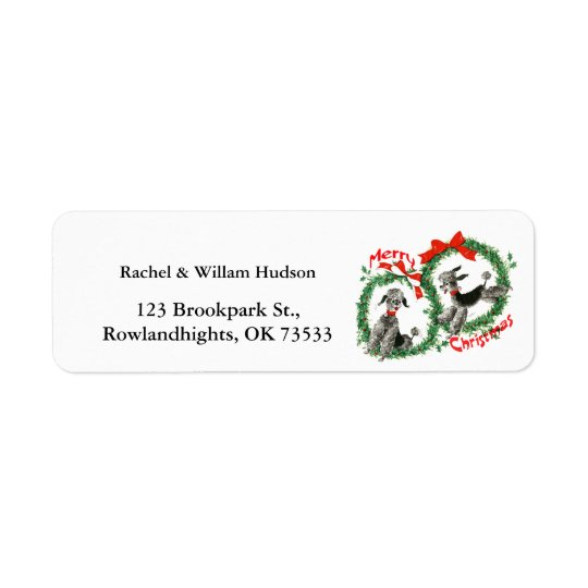Adorable Retro Christmas Poodles Wreath Custom Return Address Label