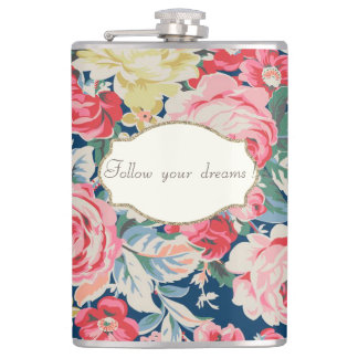 Adorable  Romantic Flowers -Motivational Message Hip Flask