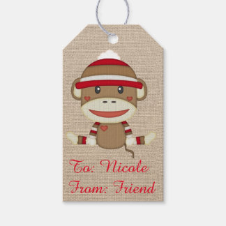 Adorable Rustic Custom Sock Monkey Party Gift Tags