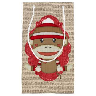 Adorable Rustic Custom Sock Monkey Party Small Gift Bag